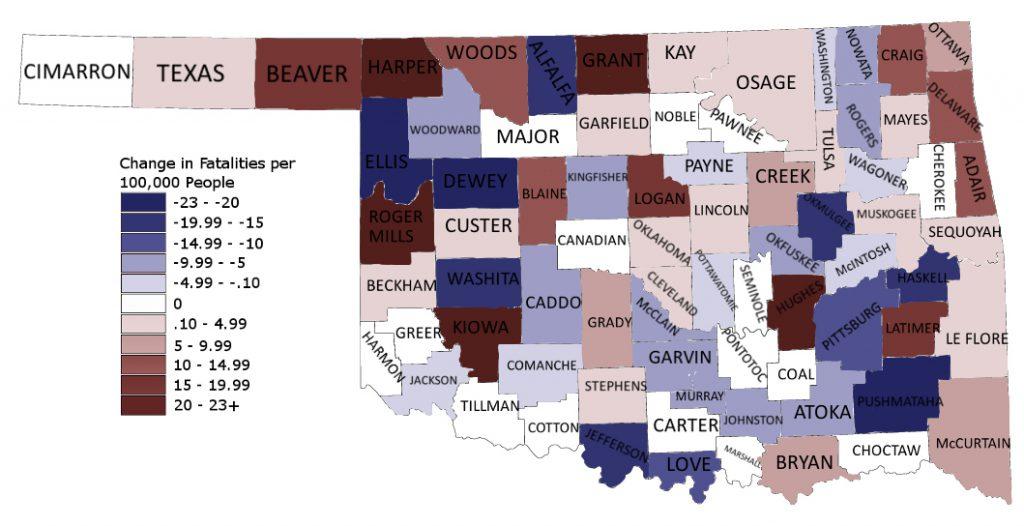 Oklahoma Change in Fatalities-Per-Capita 2012