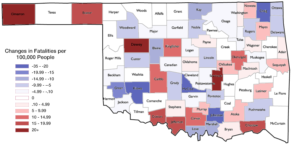 Increases and Decreases in Alcohol-Related Fatalities by County, 2013-2014