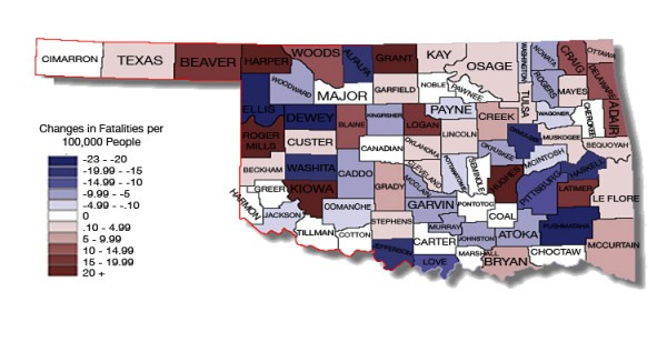 Oklahoma change in fatalities per capita 06-13