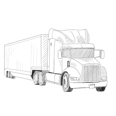 Illustration of a semi truck