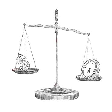 Wage theft - scale illustration