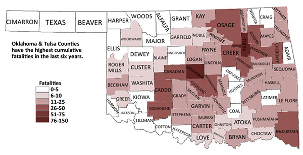2011 Oklahoma Alcohol-Related Fatalities by County