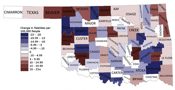 Oklahoma Change in Fatalities-Per-Capita 2012
