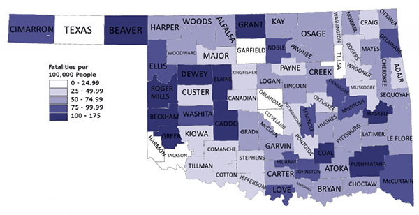 Oklahoma Alcohol-Related Fatalities Per Capita 2012