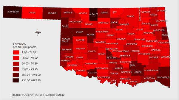 Fatality rate per county 2008