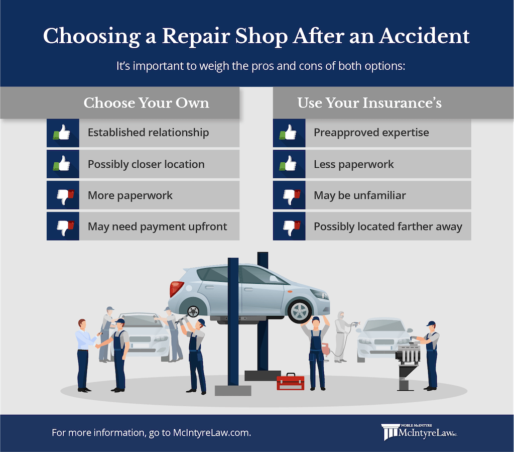 choosing a repair shop after an accident - using your the one insurance recommends vs picking your own