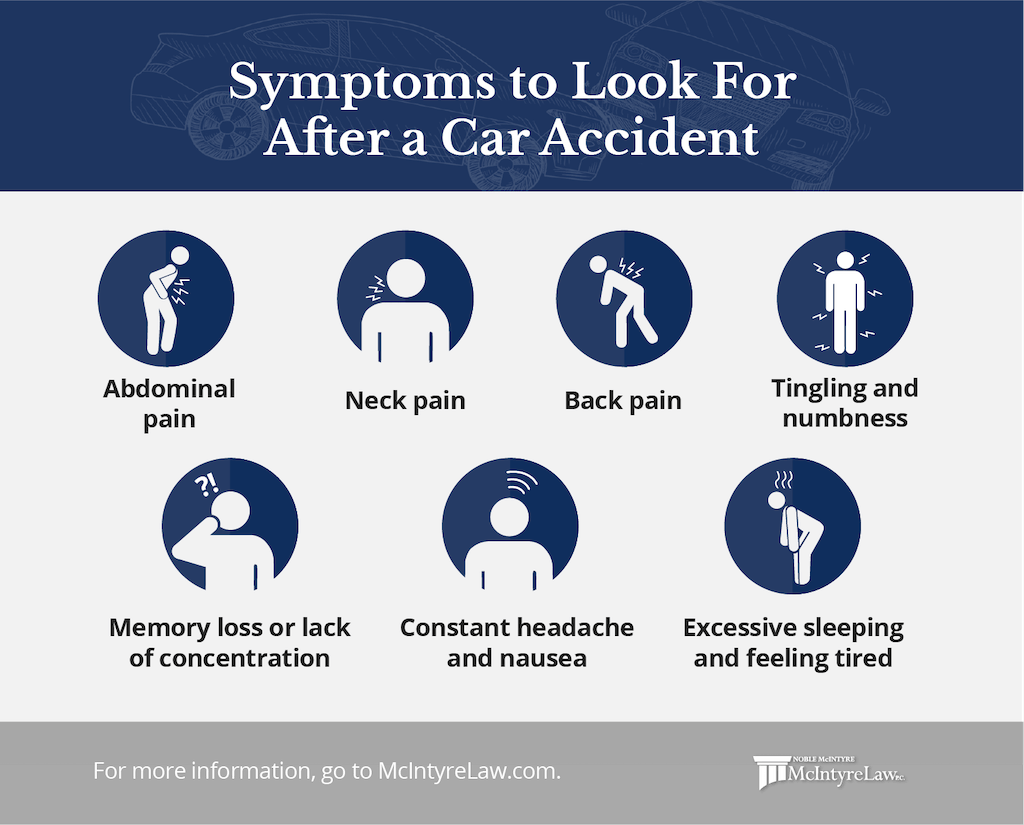 symptoms to look for after a car accident